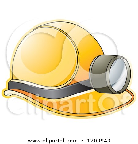 Clipart of a Yellow Mining Helmet and Lamp - Royalty Free Vector Illustration by Lal Perera