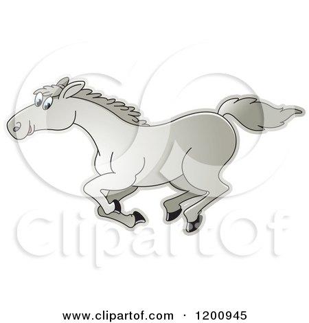 Cartoon of a Gray Running Horse - Royalty Free Vector Clipart by Lal Perera