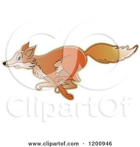 Cartoon of a Running Fox - Royalty Free Vector Clipart by Lal Perera