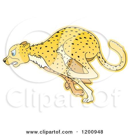 Cartoon of a Running Cheetah - Royalty Free Vector Clipart by Lal Perera