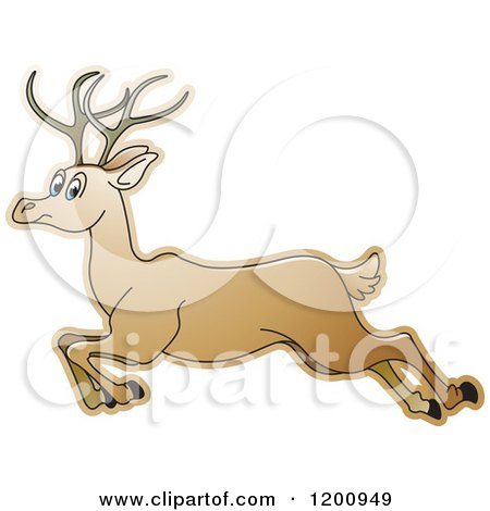 Cartoon of a Running Deer - Royalty Free Vector Clipart by Lal Perera