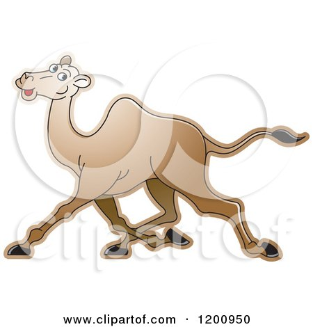Cartoon of a Running Camel - Royalty Free Vector Clipart by Lal Perera