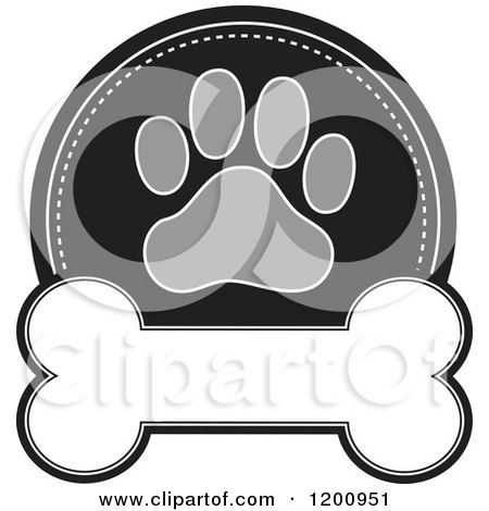 Cartoon of a Grayscale Paw Print and Dog Bone Label with Text Space - Royalty Free Vector Clipart by Maria Bell