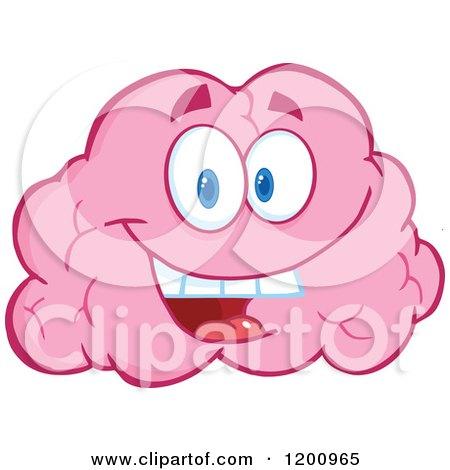 Happy Pink Brain Mascot Posters, Art Prints