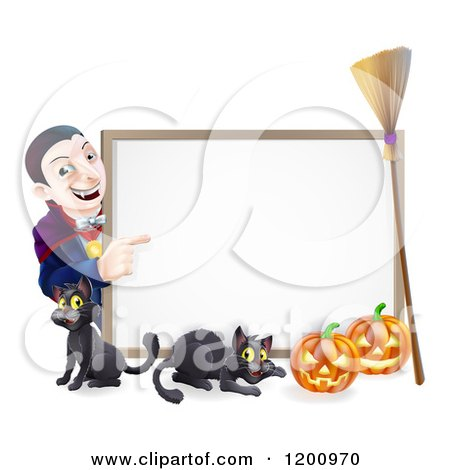 Cartoon of a Grinning Vampire Pointing to a Halloween Sign with a Black Cat Broomstick and Pumpkins - Royalty Free Vector Clipart by AtStockIllustration