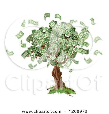 Cartoon of a Money Tree with Cash Falling off - Royalty Free Vector Clipart by AtStockIllustration