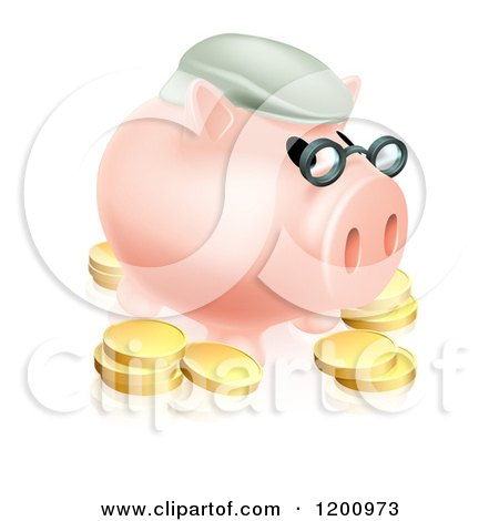 Cartoon of a Pension Piggy Bank with Glasses a Green Hat and Gold Coins - Royalty Free Vector Clipart by AtStockIllustration