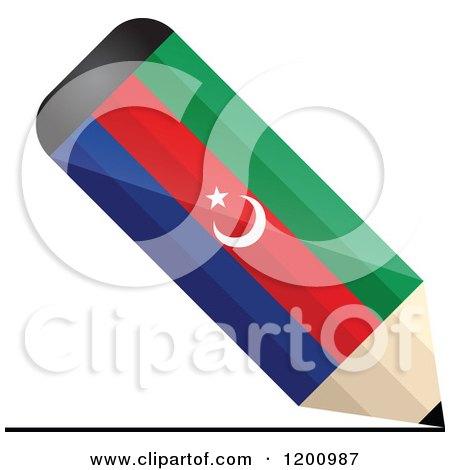 Clipart of a 3d Writing Azerbaijan Flag Pencil - Royalty Free Vector Illustration by Andrei Marincas