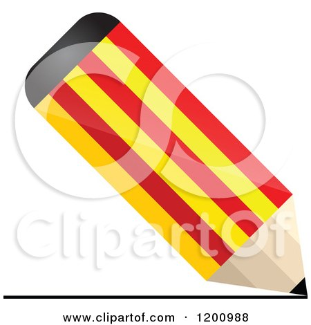 Clipart of a 3d Writing Catalonia Flag Pencil - Royalty Free Vector Illustration by Andrei Marincas