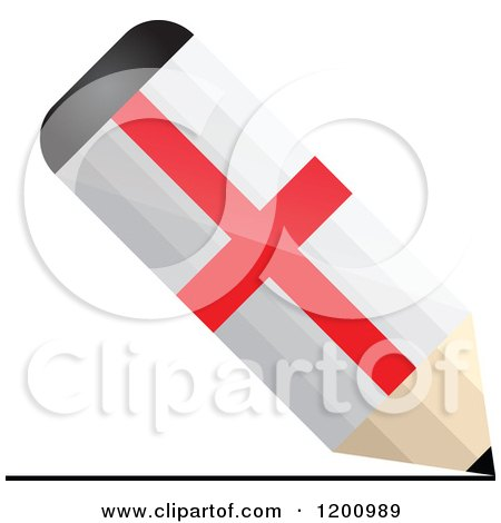 Clipart of a 3d Writing England Flag Pencil - Royalty Free Vector Illustration by Andrei Marincas
