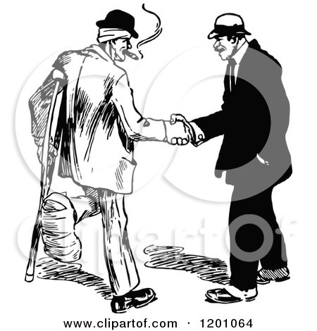 Vintage Black and White Handshake Between an Injured Man and Another Posters, Art Prints