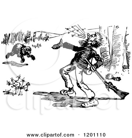 Clipart of a Vintage Black and White Bear Charging a Hunter 2 - Royalty Free Vector Illustration by Prawny Vintage
