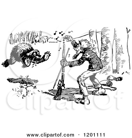 Clipart of a Vintage Black and White Bear Charging a Hunter 3 - Royalty Free Vector Illustration by Prawny Vintage