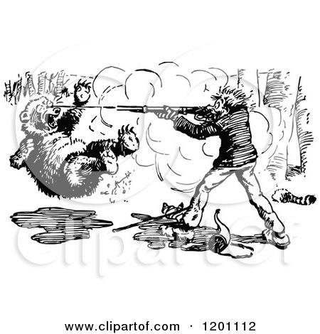 Clipart of a Vintage Black and White Hunter Shooting a Bear - Royalty Free Vector Illustration by Prawny Vintage