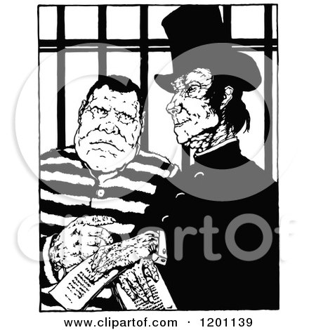 Clipart of a Vintage Black and White Vacant Prison Cell - Royalty ...