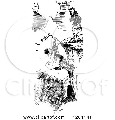 Clipart of a Vintage Black and White Man Hanging from a Cliff - Royalty Free Vector Illustration by Prawny Vintage