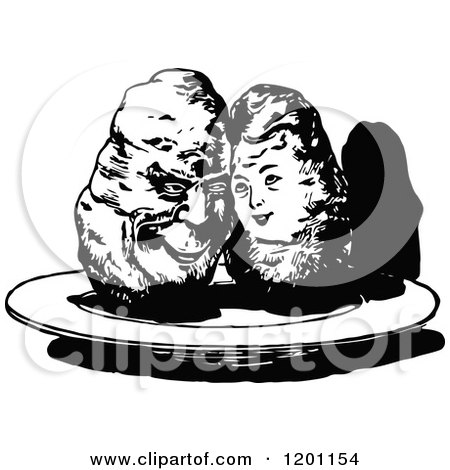 Clipart of a Vintage Black and White Sweet Potato Couple - Royalty Free Vector Illustration by Prawny Vintage