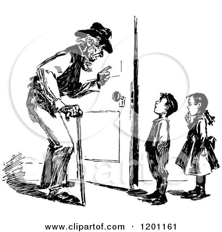 Clipart of a Vintage Black and White Grandfather and Children - Royalty Free Vector Illustration by Prawny Vintage