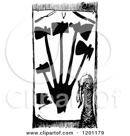Clipart of a Vintage Black and White Turkey and Slaughter Tools - Royalty Free Vector Illustration by Prawny Vintage