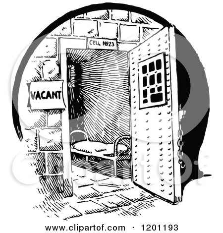 Clipart of a Vintage Black and White Vacant Prison Cell - Royalty Free Vector Illustration by Prawny Vintage