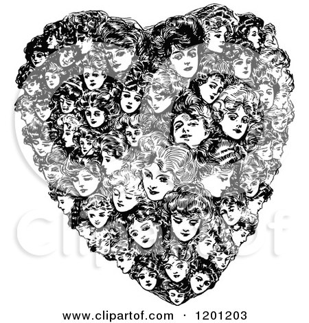 Clipart of a Vintage Black and White Heart Made of Women - Royalty Free Vector Illustration by Prawny Vintage