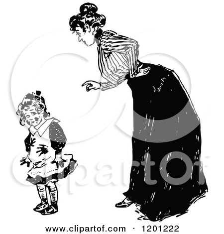 Clipart of a Vintage Black and White Mother Scolding Her Dirty Daughter - Royalty Free Vector Illustration by Prawny Vintage