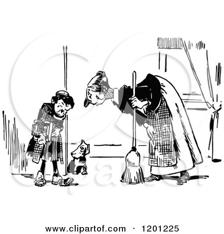 Clipart of a Vintage Black and White Mother Scolding Her Son and Dog - Royalty Free Vector Illustration by Prawny Vintage