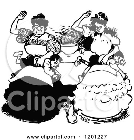 Clipart of Vintage Black and White Mothers Spanking Their Sons - Royalty Free Vector Illustration by Prawny Vintage