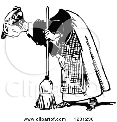 Clipart of a Vintage Black and White Old Woman Bending over with a Broom - Royalty Free Vector Illustration by Prawny Vintage