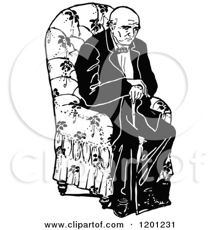 Clipart of a Vintage Black and White Tired Old Man Sitting in a Chair - Royalty Free Vector Illustration by Prawny Vintage