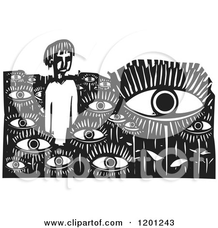 Clipart of a Man in a Field of Eyes Black and White Woodcut - Royalty Free Vector Illustration by xunantunich