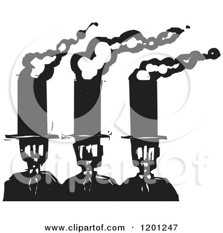 Clipart of Business Men with Smokestack Top Hats Black and White Woodcut - Royalty Free Vector Illustration by xunantunich