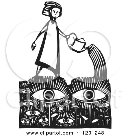 Clipart of a Girl Watering an Eye Garden Black and White Woodcut - Royalty Free Vector Illustration by xunantunich