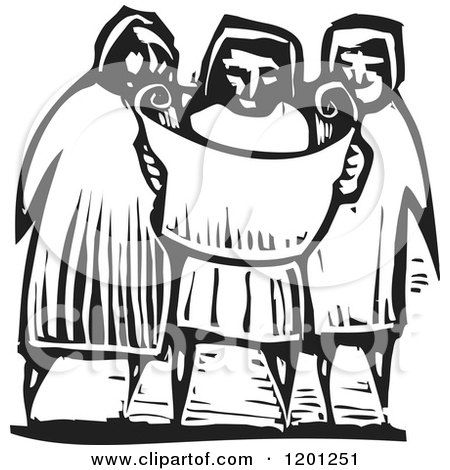 Clipart of a Three People Reading a Map or Scroll Black and White Woodcut - Royalty Free Vector Illustration by xunantunich
