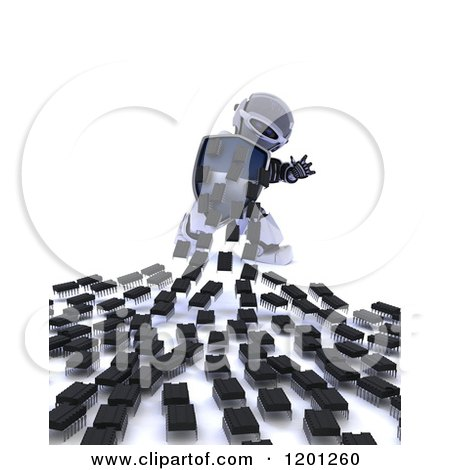 Clipart of a 3d Blue Android Robot Defending Against Computer Virus Chips - Royalty Free CGI Illustration by KJ Pargeter