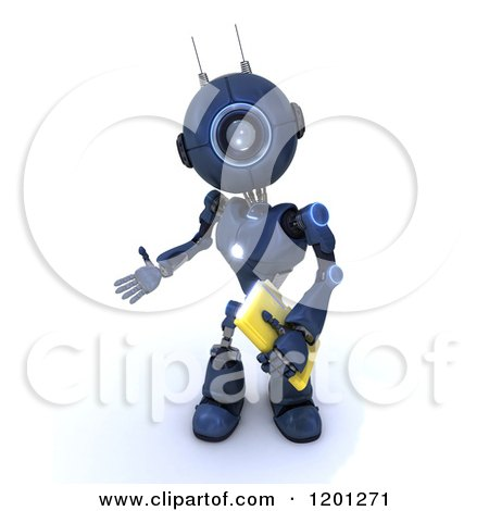 Clipart of a 3d Blue Android Robot Holding a File - Royalty Free CGI Illustration by KJ Pargeter