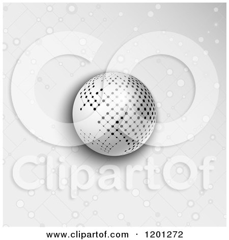 Clipart of a Network Sphere over Gray with Lattice Dots - Royalty Free Vector Illustration by KJ Pargeter