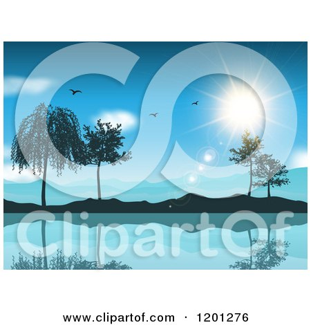 Clipart of Seagulls and the Sun over a Lake Mountains and Trees - Royalty Free Vector Illustration by KJ Pargeter