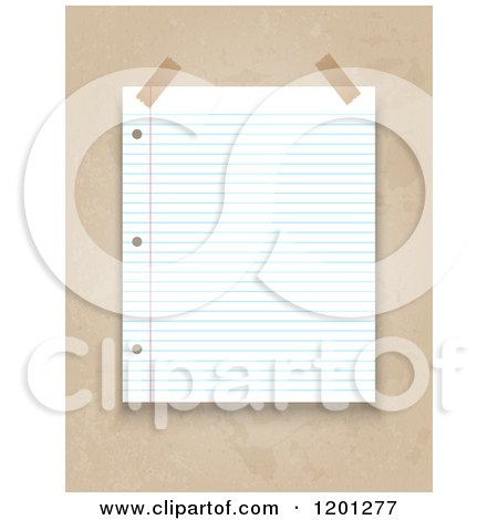 Clipart of a Taped Piece of Ruled Binder Paper over Grunge - Royalty Free Vector Illustration by KJ Pargeter
