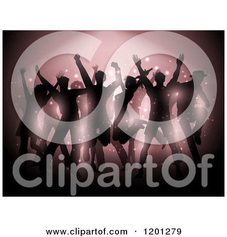 Clipart of a Crowd of Silhouetted People Dancing Under a Spotlight - Royalty Free Vector Illustration by KJ Pargeter