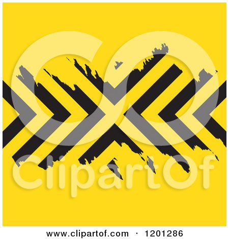 Clipart of a Yellow Background with Grungy Black Chevron Stripes - Royalty Free Vector Illustration by Arena Creative
