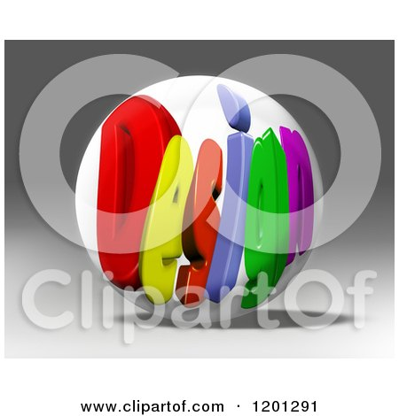 Clipart of a 3d Globe with Colorful DESIGN Text over Gray - Royalty Free CGI Illustration by MacX