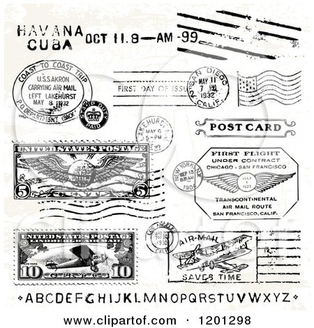 Clipart of Vintage Alphabet Leters and Postage Marks - Royalty Free Vector Illustration by BestVector