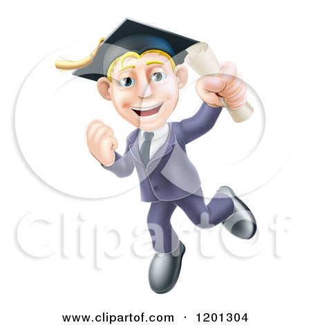 Cartoon of a Happy Blond Graduate Business Man Jumping Wearing a Graduation Cap and Holding a Diploma - Royalty Free Vector Clipart by AtStockIllustration