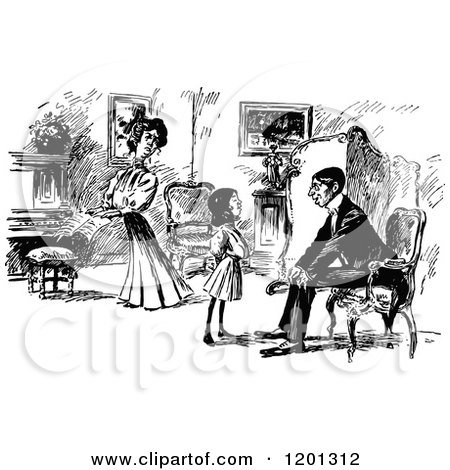 Clipart Of A Vintage Black And White Family In Living Room