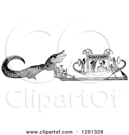 Clipart of a Vintage Black and White Crying Crocodile - Royalty Free Vector Illustration by Prawny Vintage