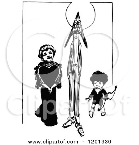 Clipart of a Vintage Black and White Cupid Family - Royalty Free Vector Illustration by Prawny Vintage
