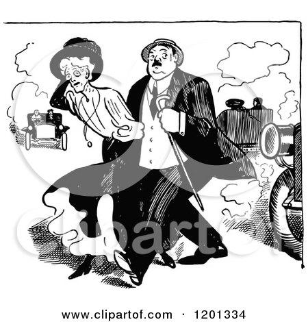 Clipart of a Vintage Black and White Couple Crossing a Street - Royalty Free Vector Illustration by Prawny Vintage
