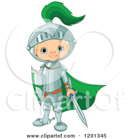 Cartoon of a Happy Blond Knight Boy with a Green Cape Sword and Shield - Royalty Free Vector Clipart by Pushkin