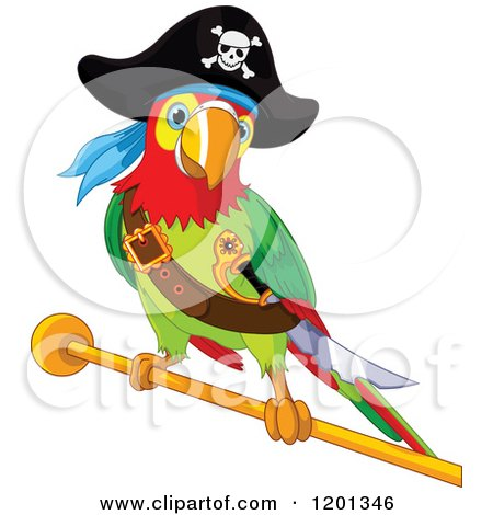 Cartoon of a Pirate Macaw Parrot on a Gold Rod - Royalty Free Vector Clipart by Pushkin